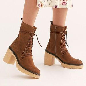 Free People Dylan Lace-Up Boots in Taupe
